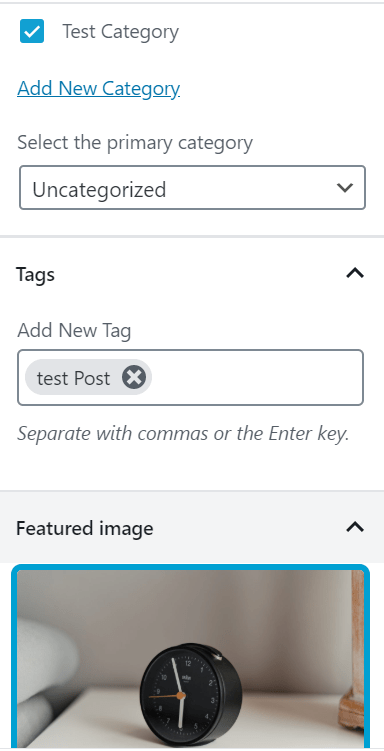 post category featured image and tags