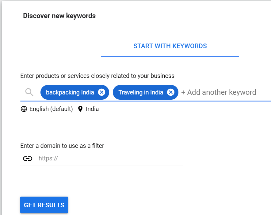 Keywords in Google Keyword Planner