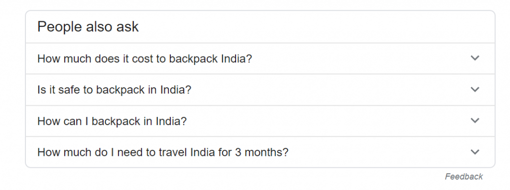 People Also Ask section on Google