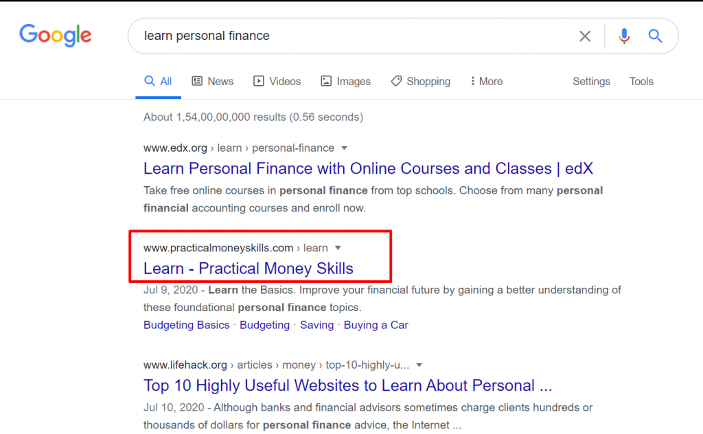 Search learn personal finance on Google