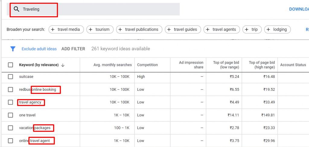 Google keyword planner for LSI